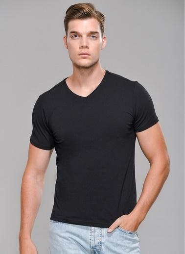 People By Fabrika Likralı V Yaka Tişört Siyah